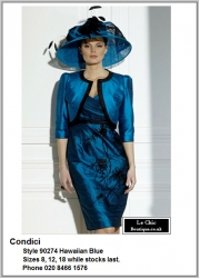 Condici_90274_Hawaiian Blue_Mother_Bride_Size08, Size12, Size18, Blues Navy Lilac, Hat, Ascot, 1213