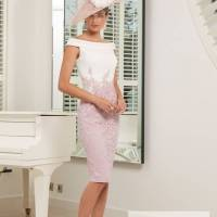 ...Ronald Joyce by Veni Infantino, style 991524, Ivory and dark pink; Ivory and silver